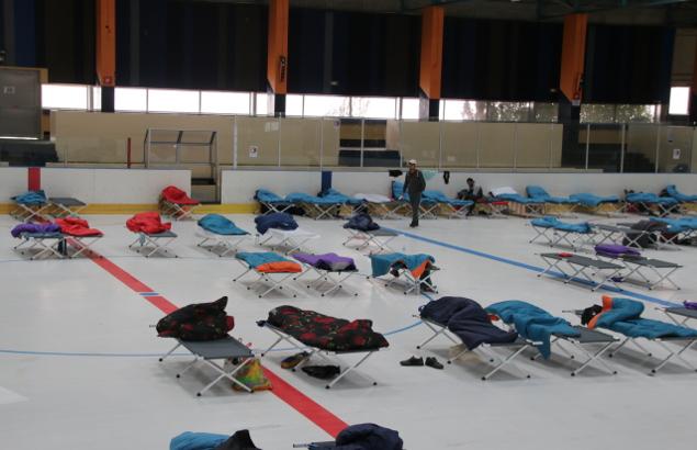 Des dizaines de lits de camps recouverts de duvets sur la patinoire