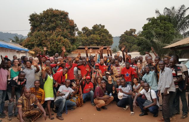Group photo of the Première Urgence Internationale's mission in Central African Republic