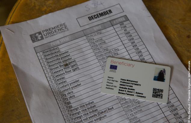 Liste et e-voucher utilisés dans le cadre du projet innovant au Nigeria de Première Urgence Internationale
