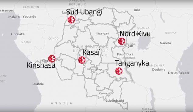 Carte des interventions de Première Urgence Internationale en RDC