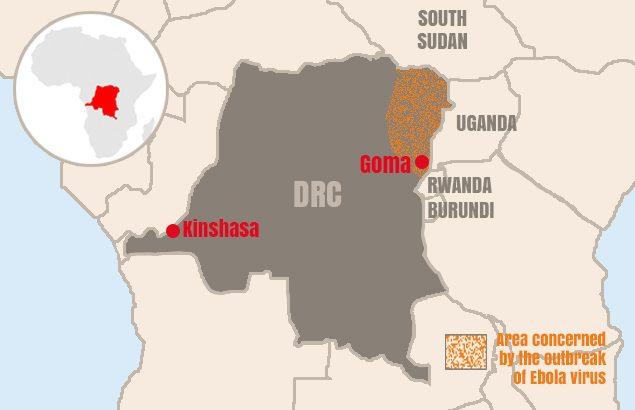 Carte de RDC et de la ville de Goma
