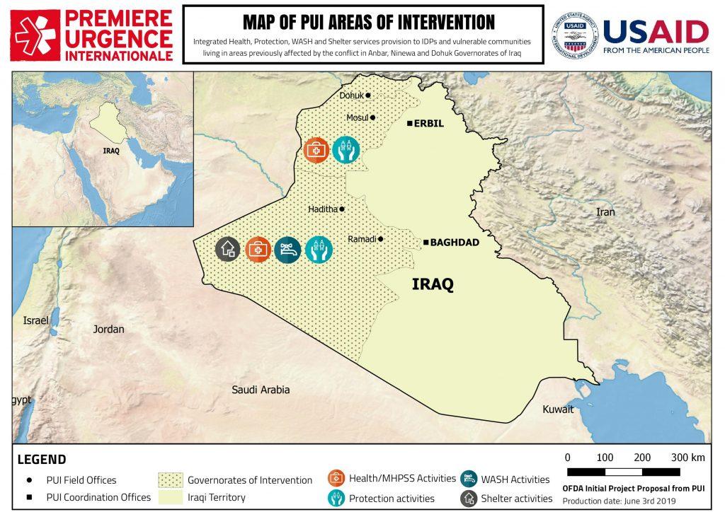 Carte de la mission Irak de Première Urgence Internationale
