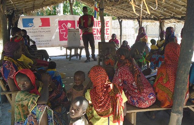 ©Première Urgence Internationale   Sensibilisation sur les bonnes pratiques en nutrition et en hygiène des ménages bénéficiant des distributions alimentaires
